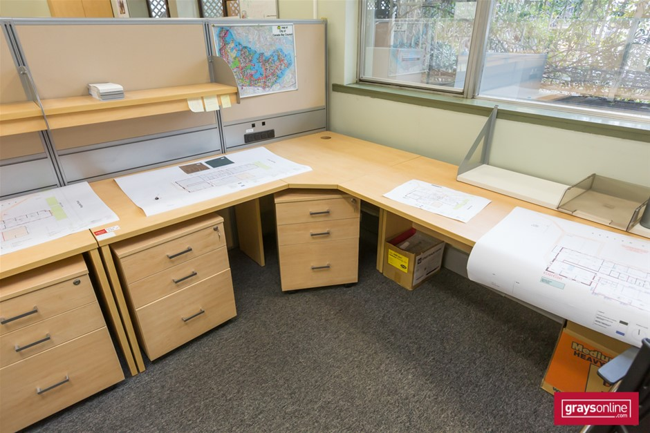 Tan Corner Workstation Office Desk (three piece)