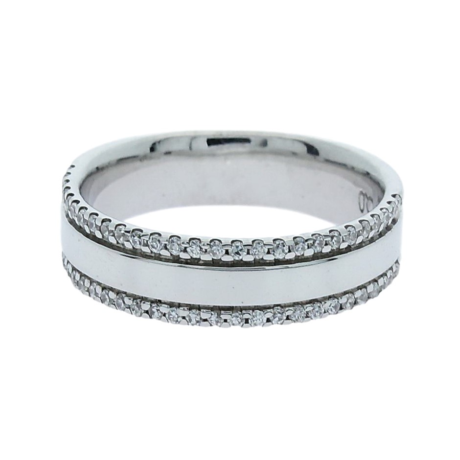0.26 Carat Sterling Silver double row bead set band