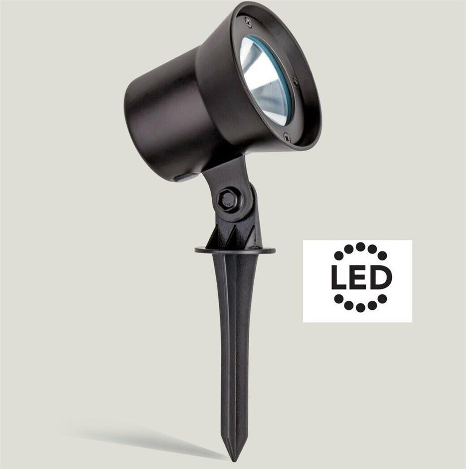 HPM 12V LED Garden Spotlight 1W Black Tilt Adjustable with Spike GLLEDSLBL