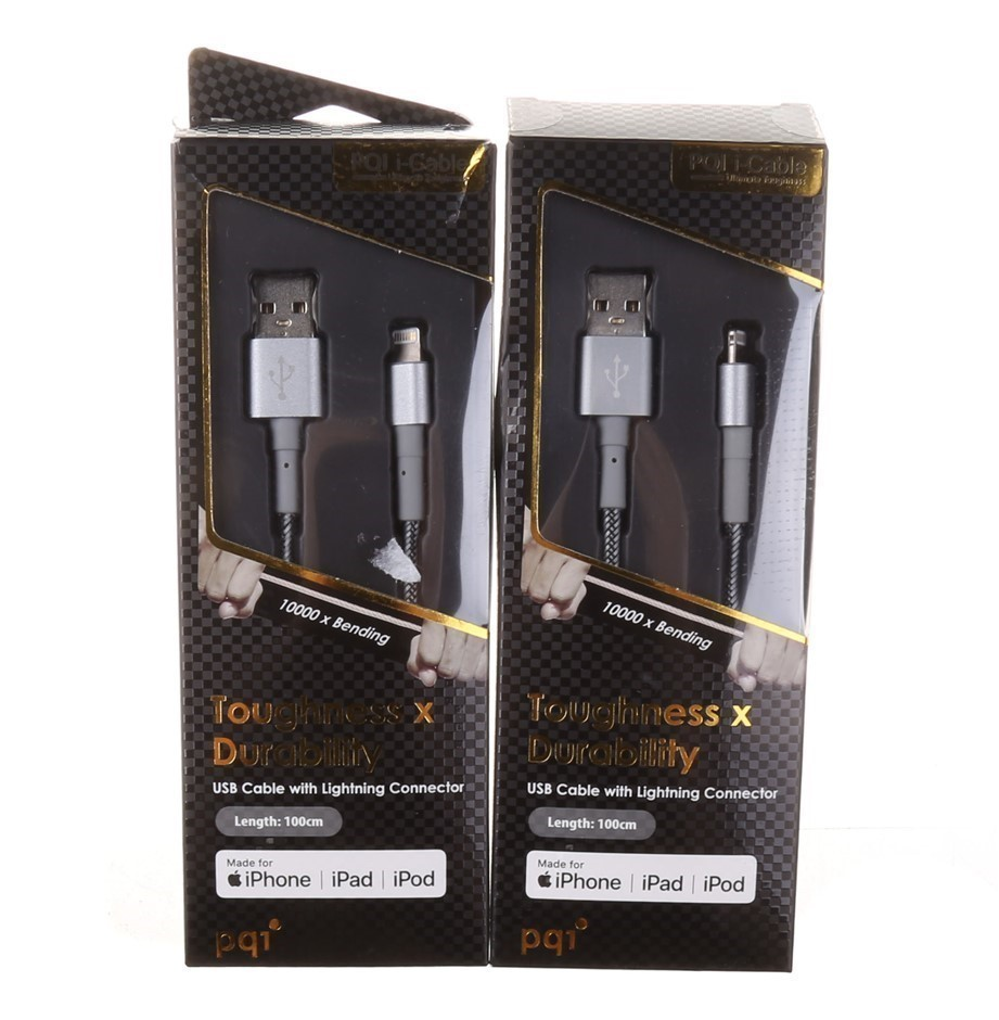 2 x PQI Toughness Durability USB Cable with Lightning Connector, Grey. N.B.