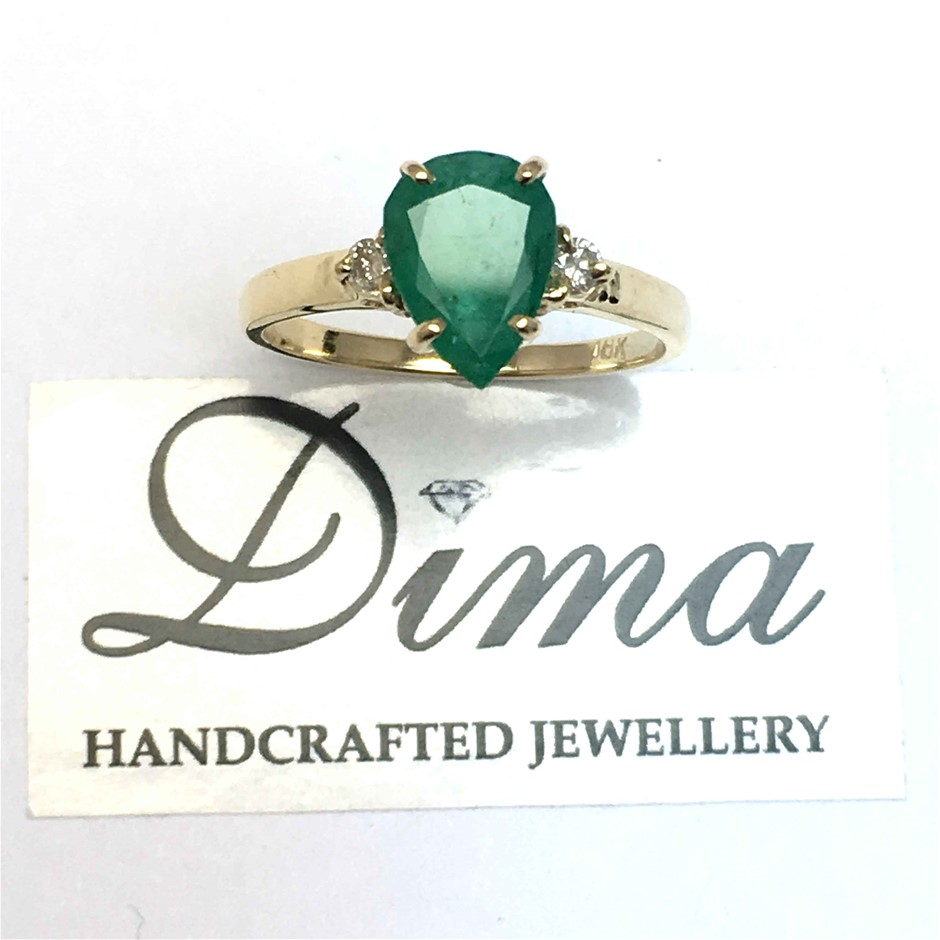 18ct Yellow Gold, 1.61ct Emerald and Diamond Ring