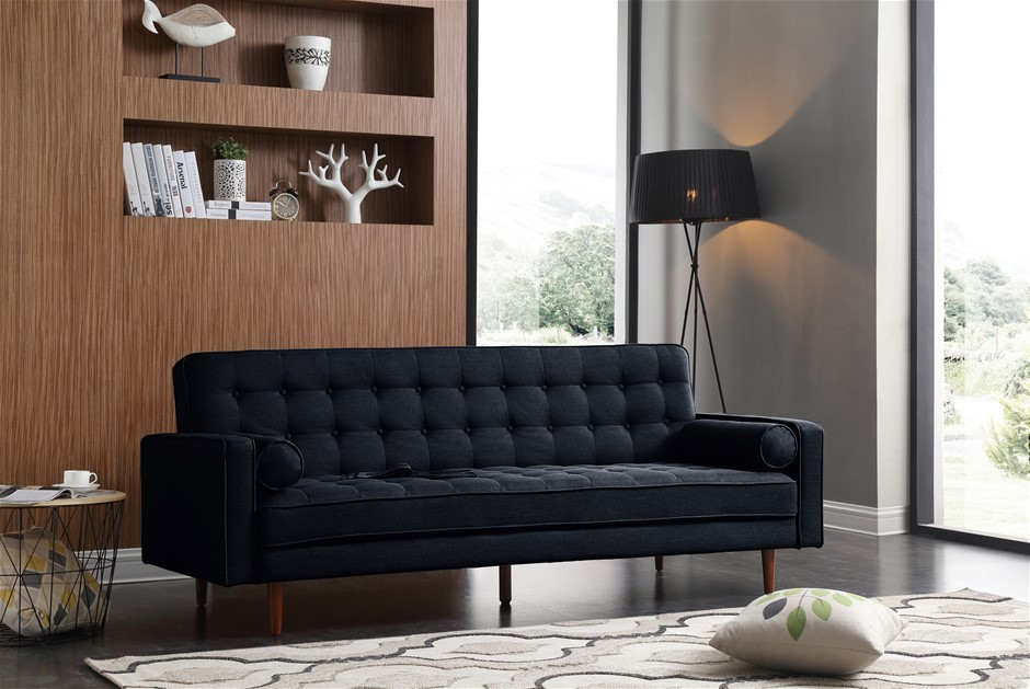 Sofa Bed 3 Seater Button Tufted Lounge Set Couch in Velvet Black Colour