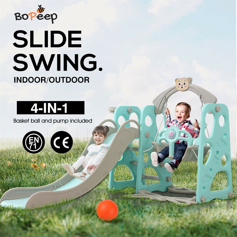BoPeep Kids Slide Swing Basketball Ring Activity Center Toddlers Play Set