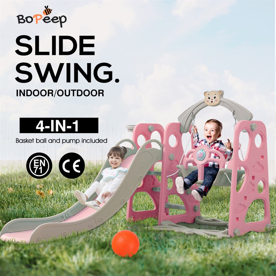 BoPeep Kids Slide Swing Basketball Ring Activity Center Toddlers Play Set