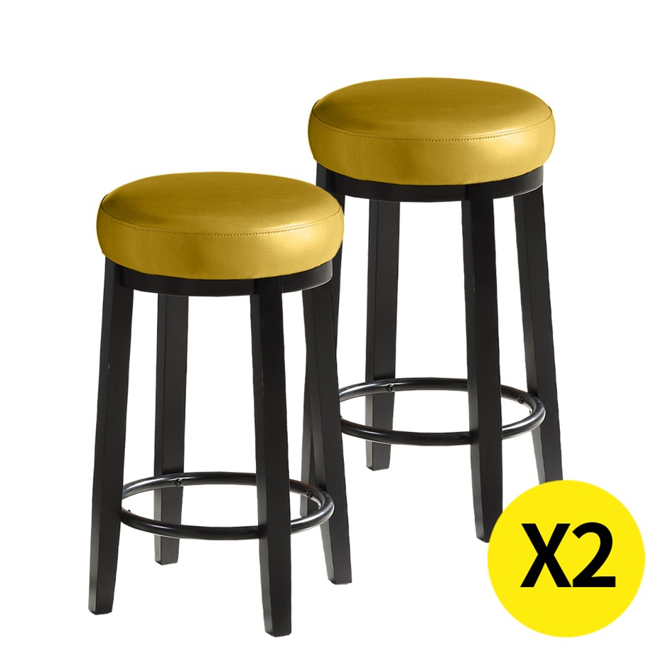 2x Levede 75cm Swivel Bar Stool Kitchen Stool Wood Dining Chair Citrine