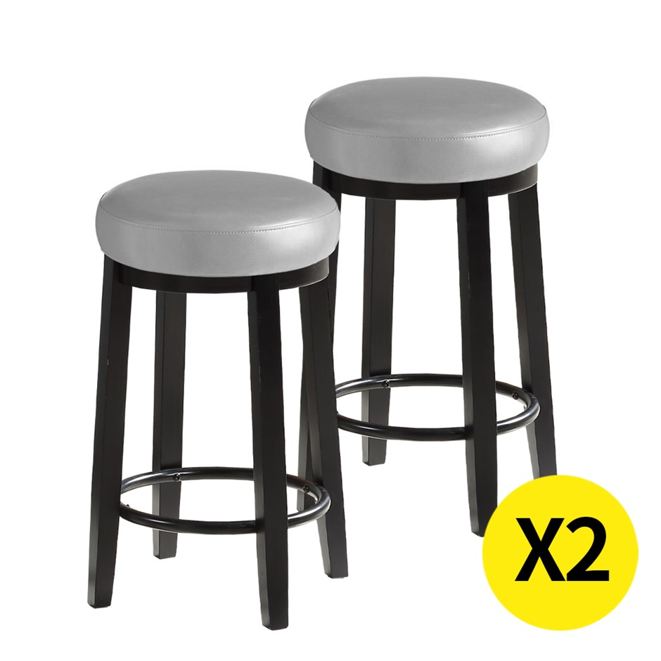 2x Levede 75cm Swivel Bar Stool Kitchen Stool Wood s Dining Chair Grey
