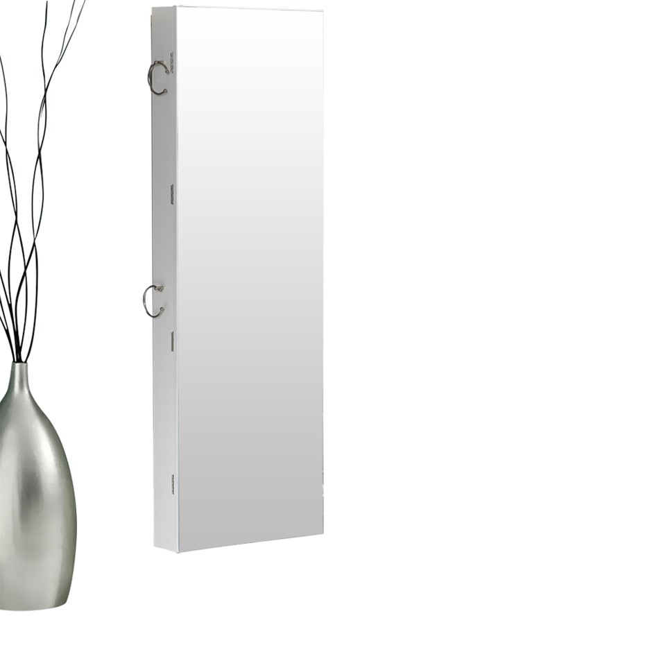 Levede Wall Mounted or Hang Over Mirrored Jewellery Dressing Cabinet White