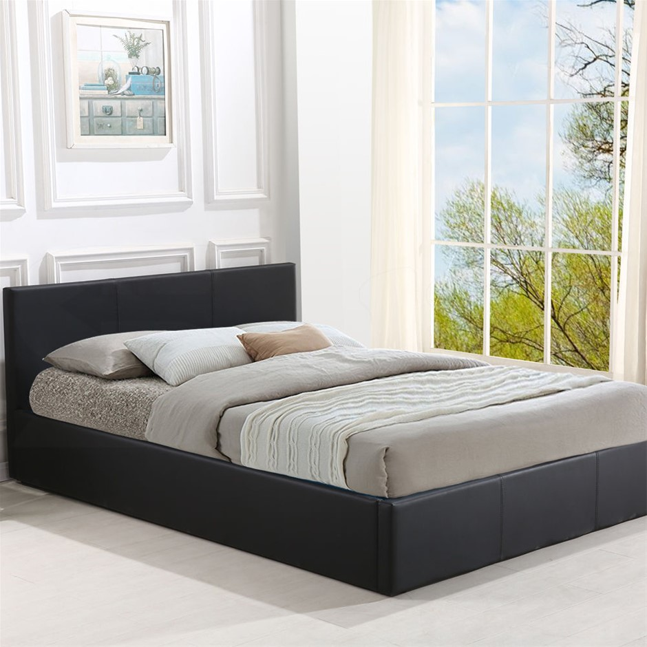 Levede Bed Frame Gas Lift Premium Leather Base Mattress Double