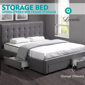 Levede Fabric Bed Frame Base Drawers Mat
