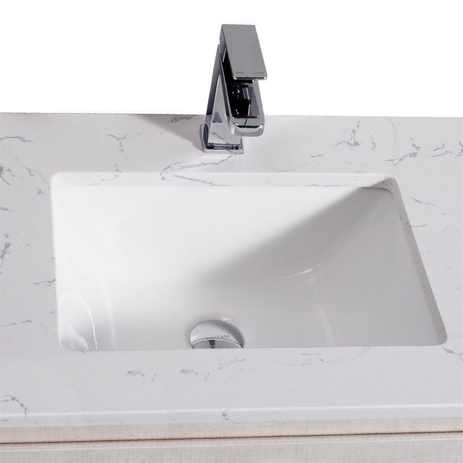 Bathroom Basin Toilet Vanity Finger Pull Cabinet 750mm Stone Top