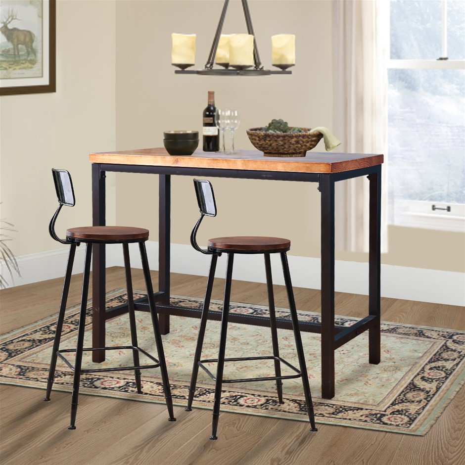 Levede 3pc Industrial Pub Table Bar Stools Wood Chair Set Home Kitchen