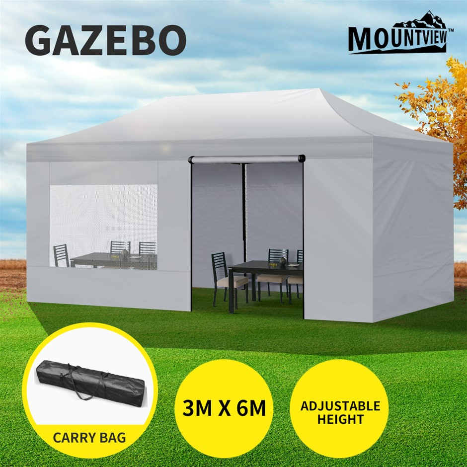 Mountview Gazebo TentOutdoor Marquee Gazebos 3x6 Canopy Mesh Side Wall