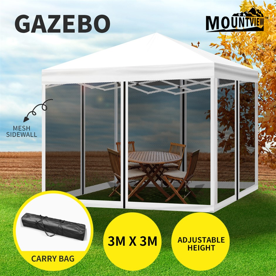Mountview Gazebo 3x3 Marquee Pop Up Tent Outdoor Canopy Mesh Side Wall