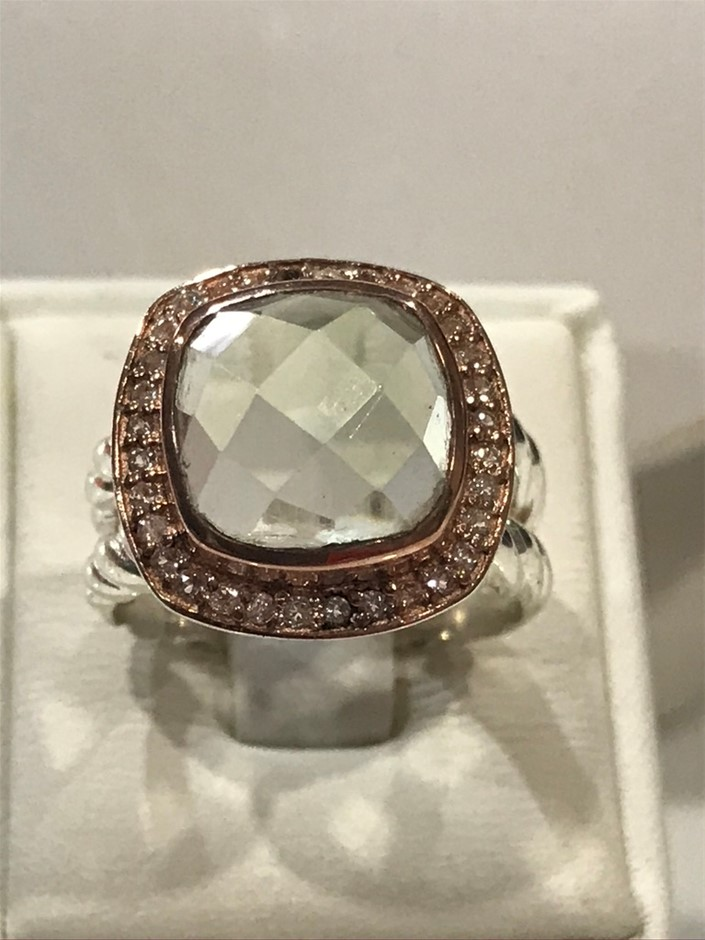 Exceptional Green Amethyst & 18K Rose & W/Gold Vermeil Size L 1/2 or (6)