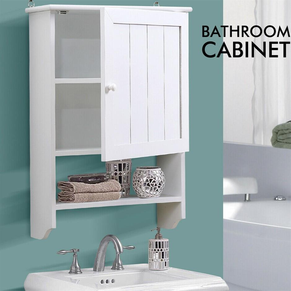 Levede Wall Hung Bathroom Tallboy Toilet Cupboard Towel Hanging