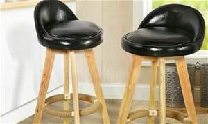 2x Levede Leather Swivel Bar Stool Kitch