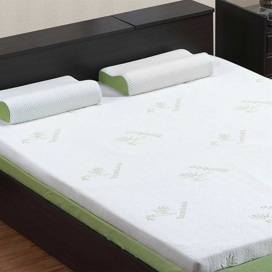 DreamZ 8cm Thickness Cool Gel Memory Foam Mattress Topper Bamboo Queen