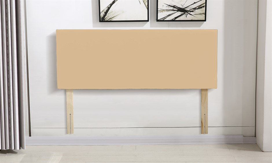 Levede PU Leather Bed Headboard with Wooden Legs in Double in Cream Colour