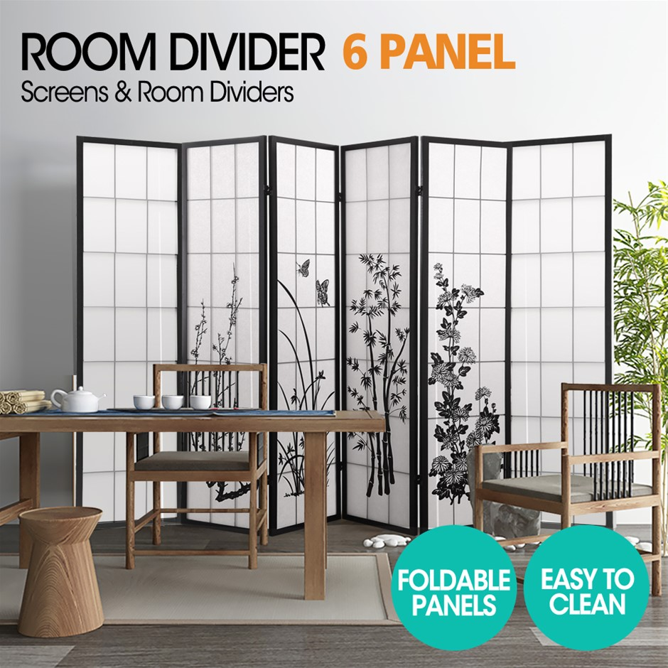 Levede 6 Panel Free Standing Foldable Room Divider Screen Floral Print