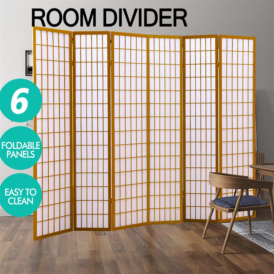 Levede 6 Panel Room Divider Screen Door Stand Wood Fold Natural