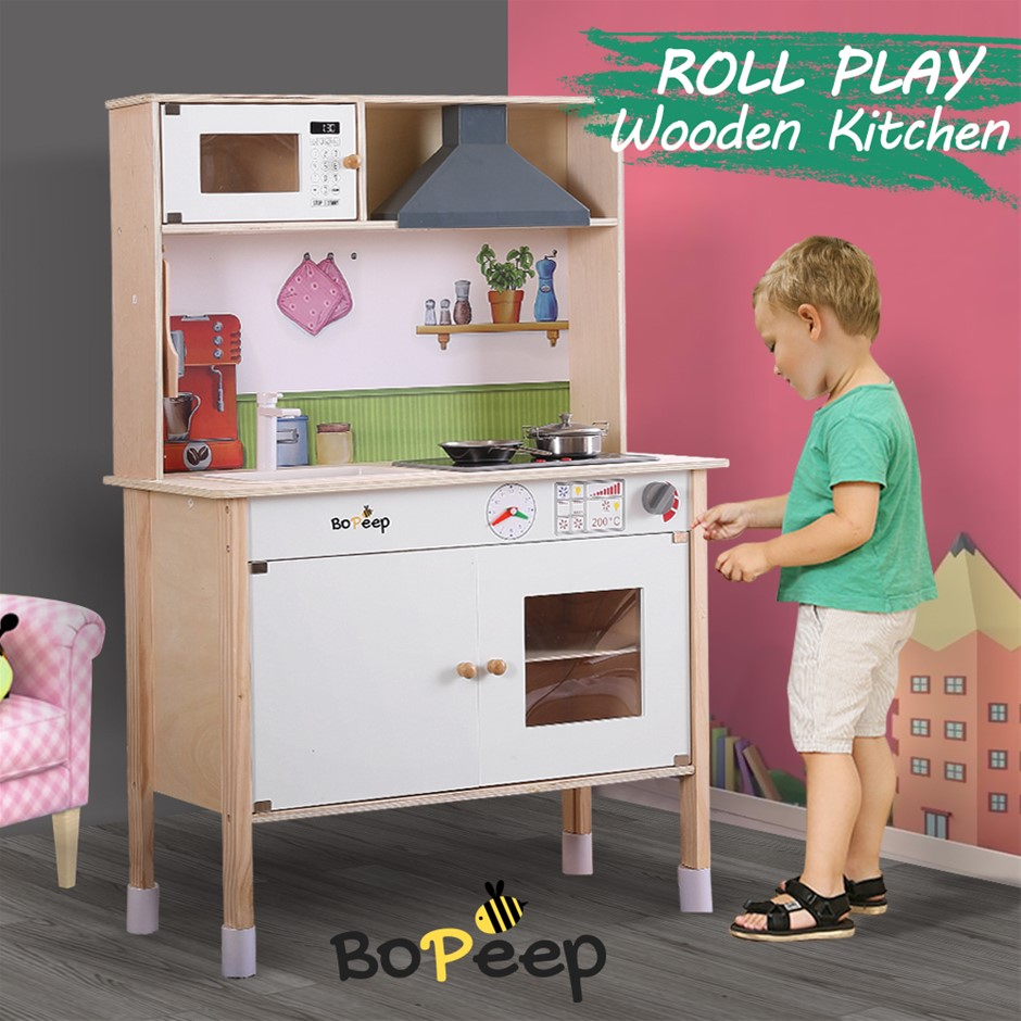 Bo Peep Kids Wooden Kitchen Pretend Play Set Cooking Toys Cookware