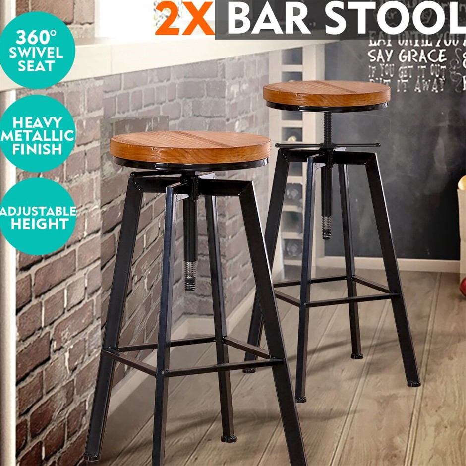 2x Levede Industrial Bar Stools Kitchen Wooden Barstools Swivel Chiars