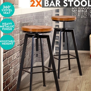2x Levede Industrial Bar Stools Kitchen