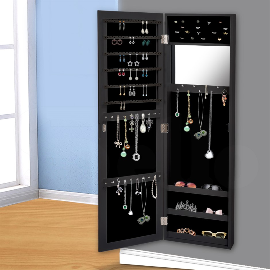 Levede Wall Mounted Mirrored Jewellery Dressing Cabinet in Black Colour
