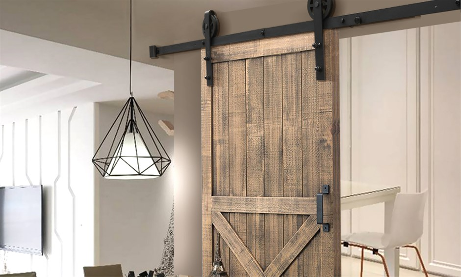 2.44M Antique Style Single Sliding Barn Door Hardware Track Roller Kit