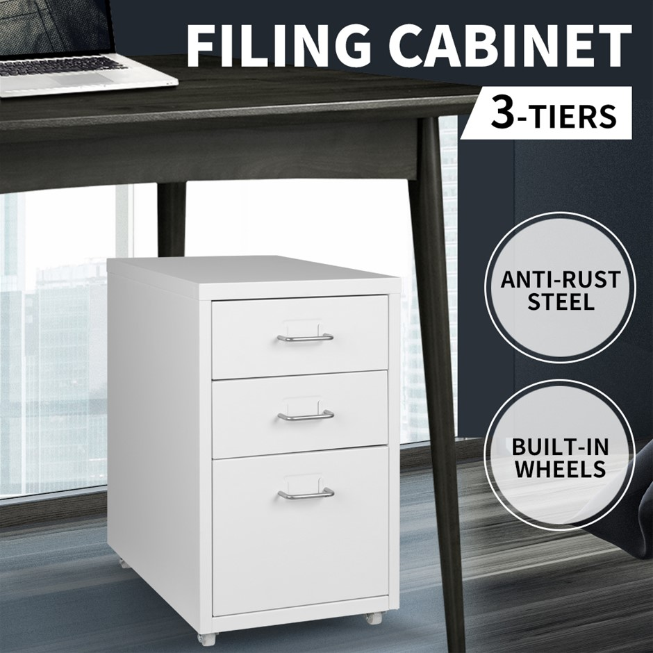 Metal File Cabinet Steel Orgainer With 3 Drawers Office Furniture AU Stock