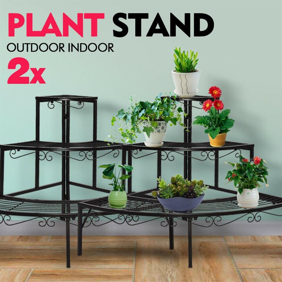 Levede Plant Stands Outdoor Indoor Metal Flower Pot 3 Garden Corner Shelf