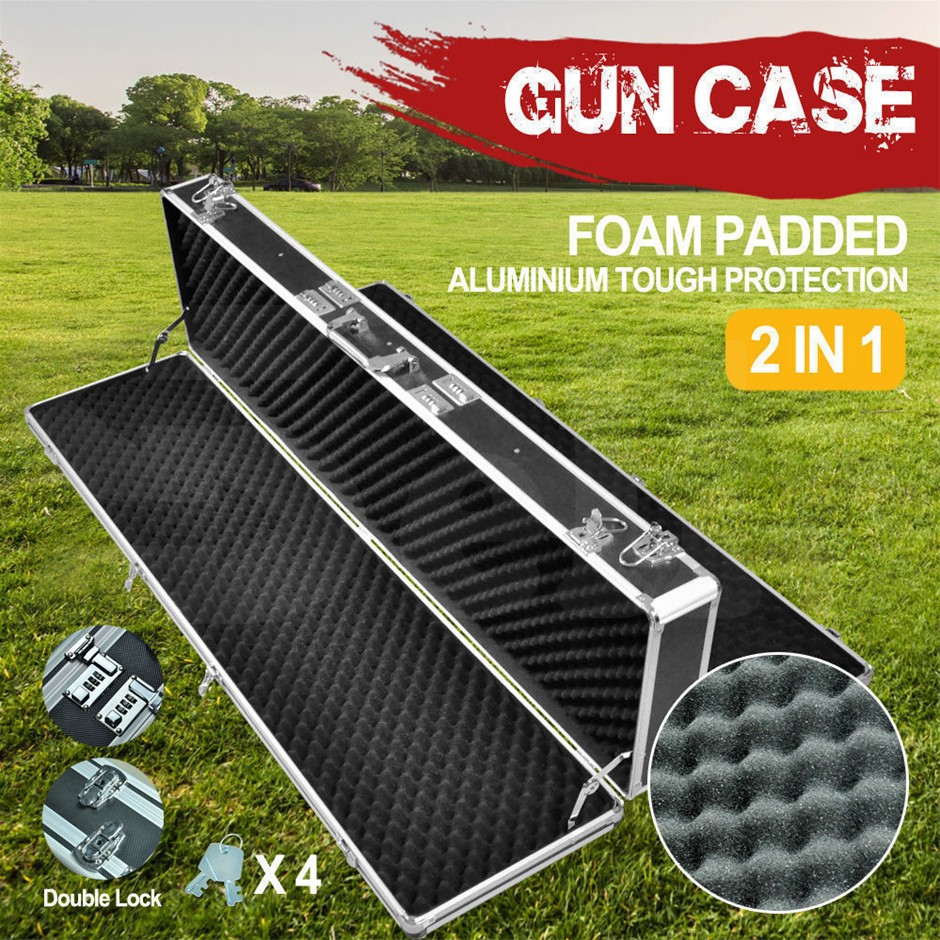 Hard Aluminium Double Sided Hunting Gun Cases Safes Bags Rifle Shot