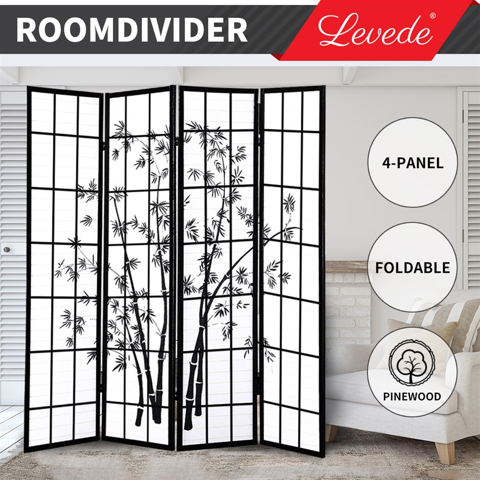 Levede Room Divider Screen 4 Panel Wooden Dividers Timber Stand Bamboo