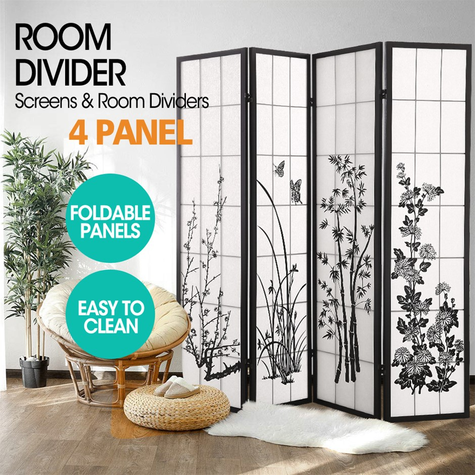 Levede Room Divider Screen 4 Panel Wooden Dividers Timber Stand Bloom