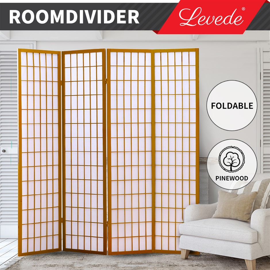 Levede Room Divider Screen 4 Panel Wooden Dividers Timber Stand Natural
