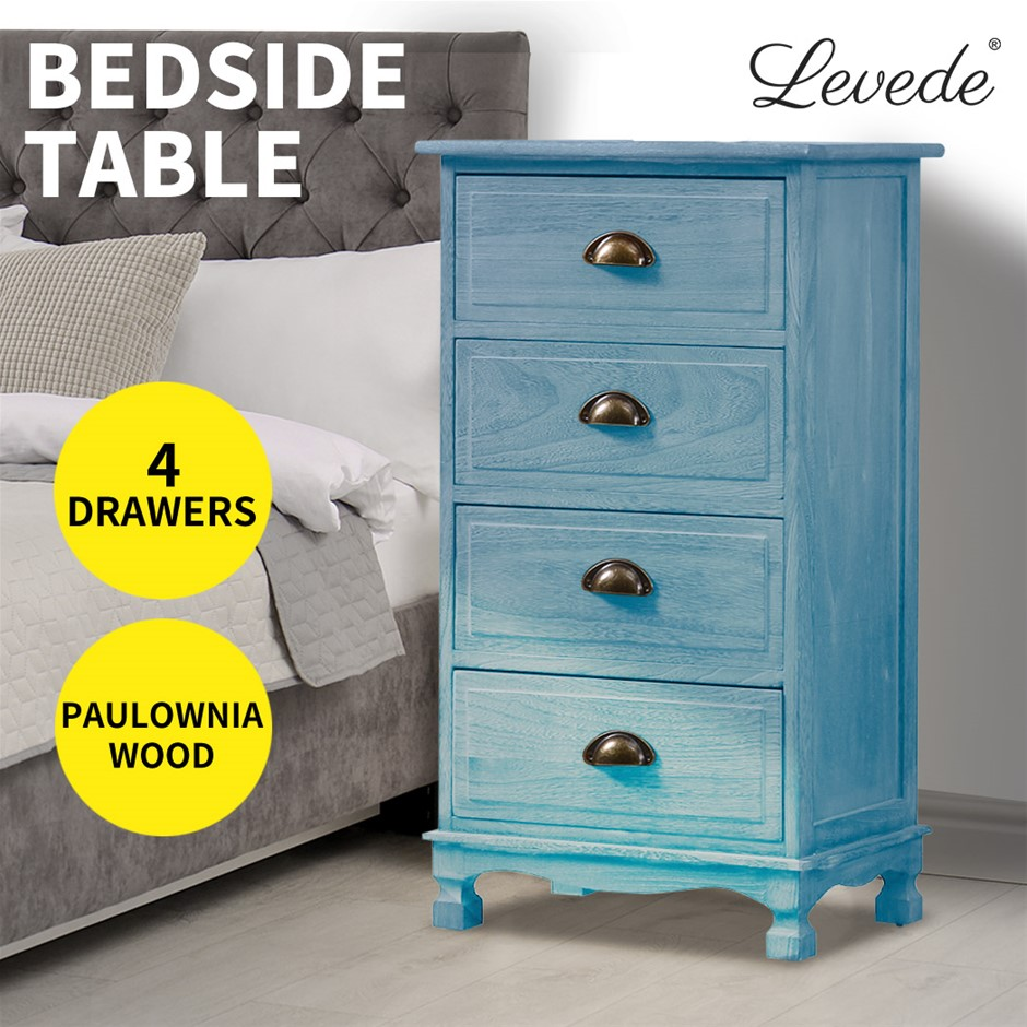 Levede Bedside Tables Vintage Cabinet Chest Of 4 Drawers Wood Nightstand