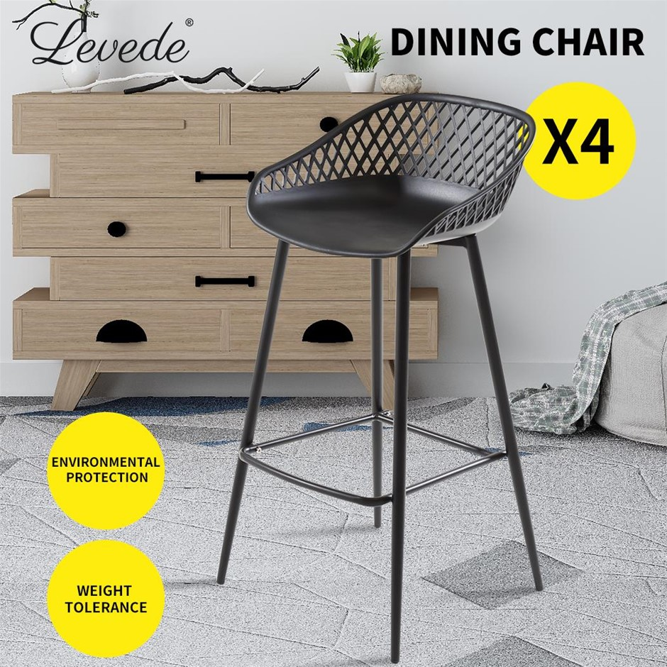 Levede Bar Stool Dining Chairs Metal Kitchen Stool Barstools Outdoor x4