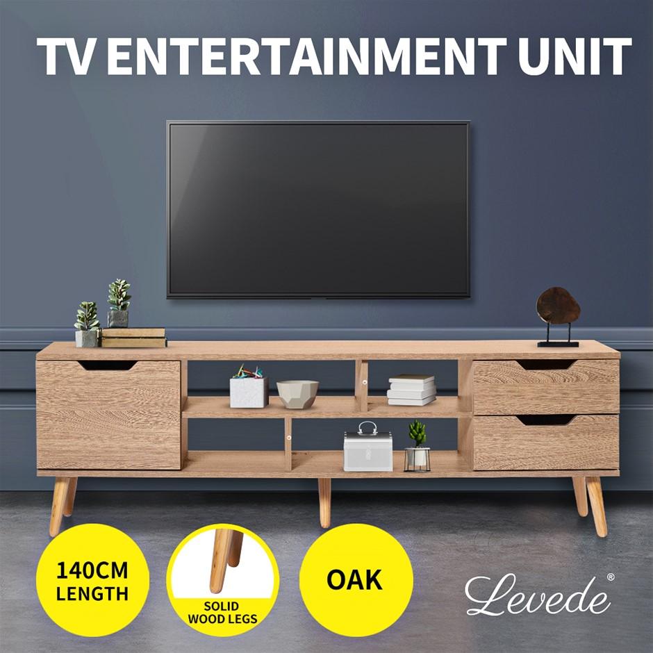Levede TV Cabinet Entertainment Unit Stand Drawer Wooden Shelf Oak 140cm