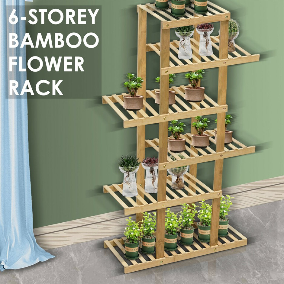 6 Tiers Premium Bamboo Wooden Plant Stand In/outdoor Garden shelf