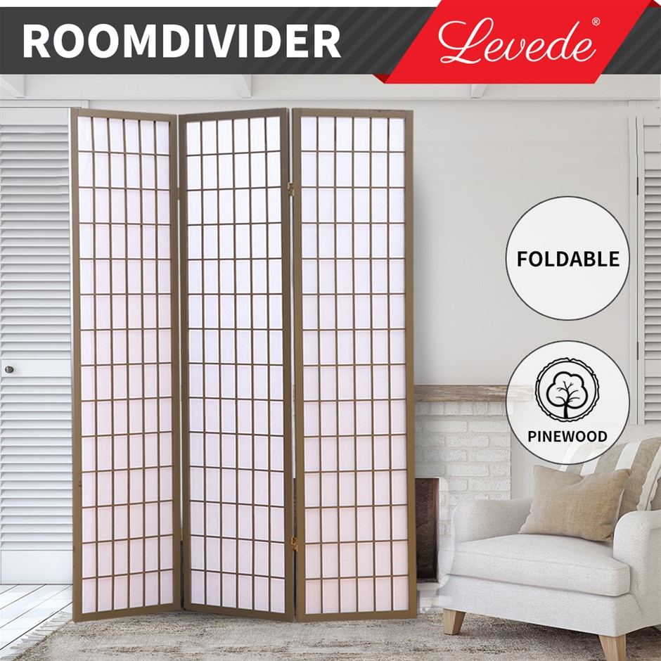 Levede Room Divider Screen 3 Panel Privacy Wooden Dividers Timber Stand