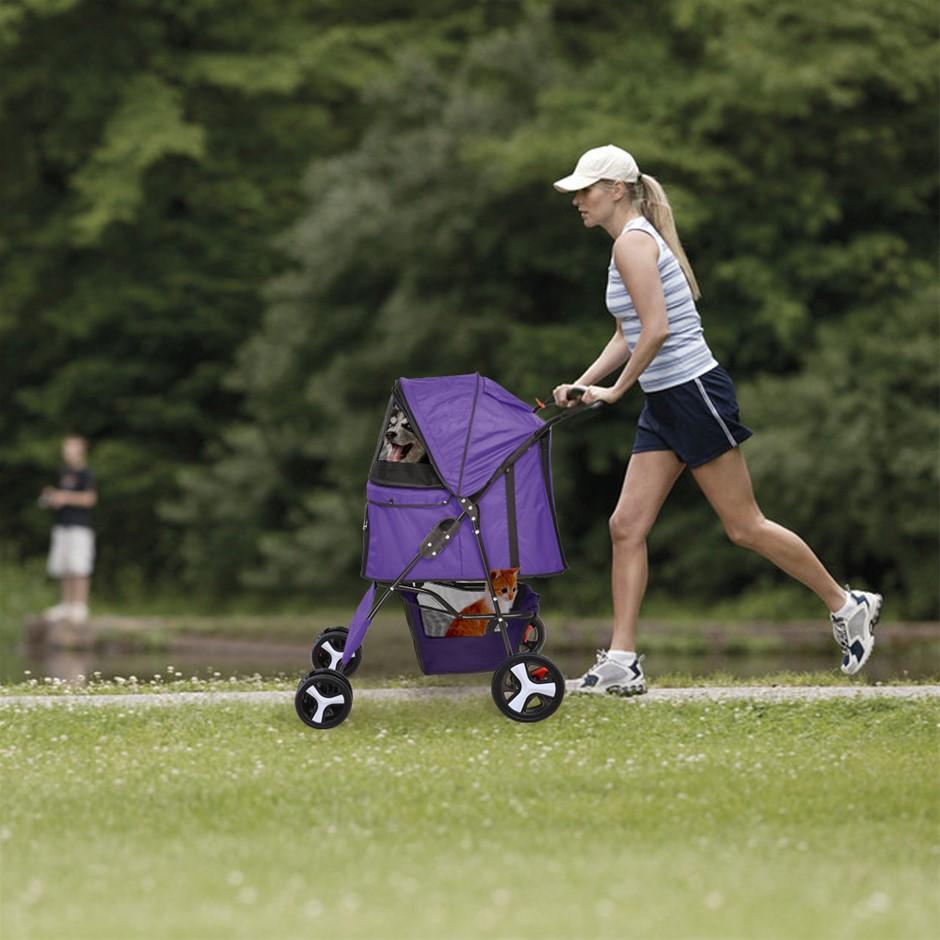 PaWz 4 Wheels Pet Stroller Dog Cat Cage Pushchair Travel Walk Carrier Pram