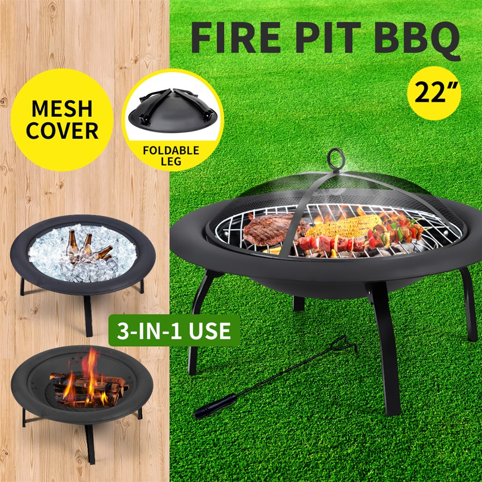 "22"" Portable Outdoor Fire Pit BBQ Grail Camping Garden Patio Heater"