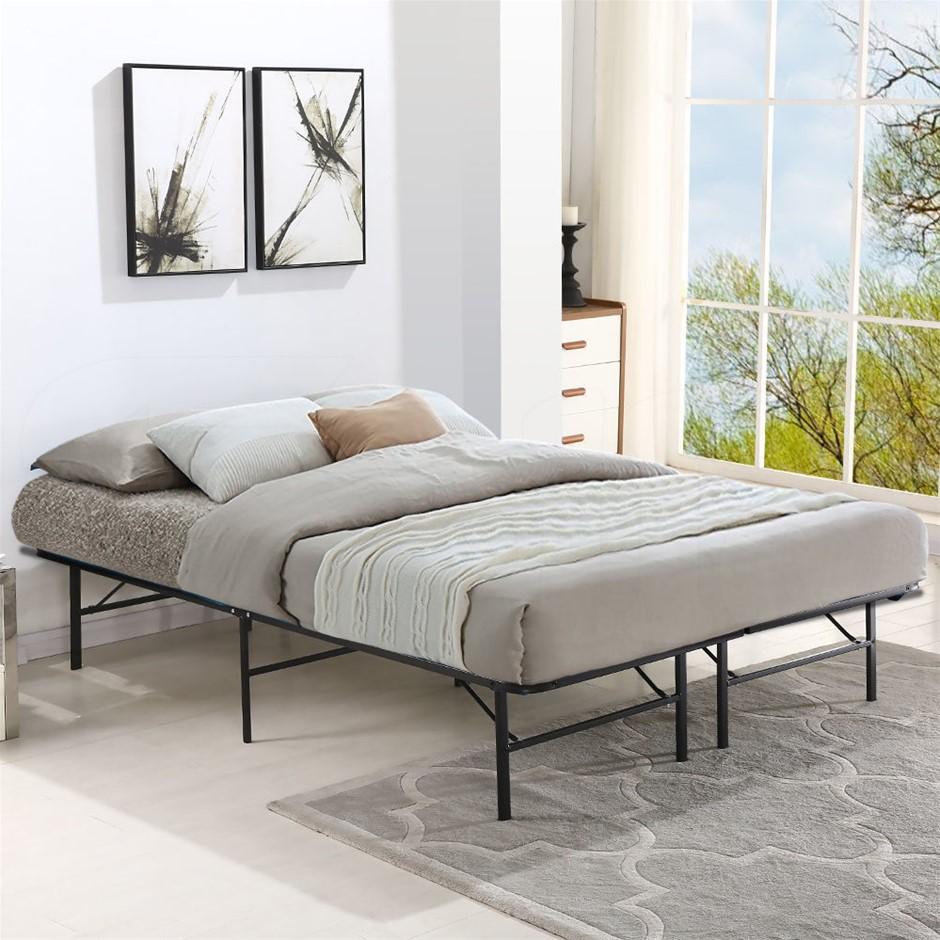 Levede Foldable Metal Bed Frame Mattress Base Platform Air BnB King Size