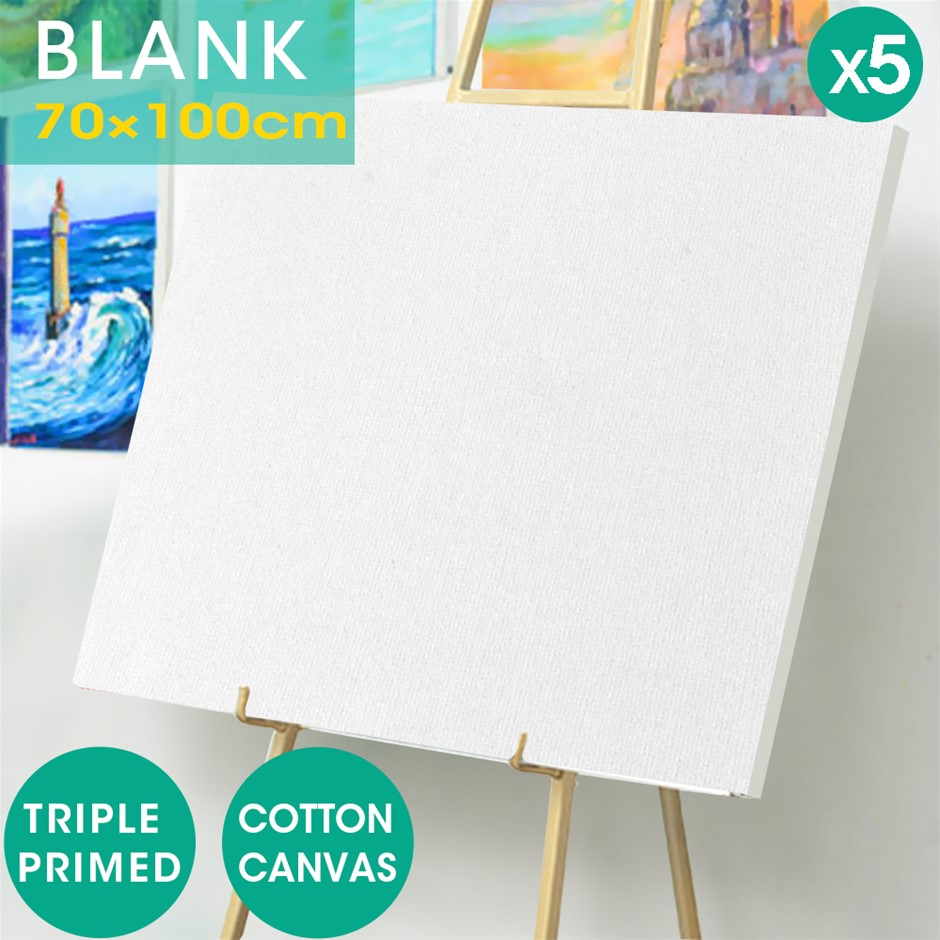 5x Blank Artist Stretched Canvas Canvases Art Oil Acrylic Wood 70x100cm