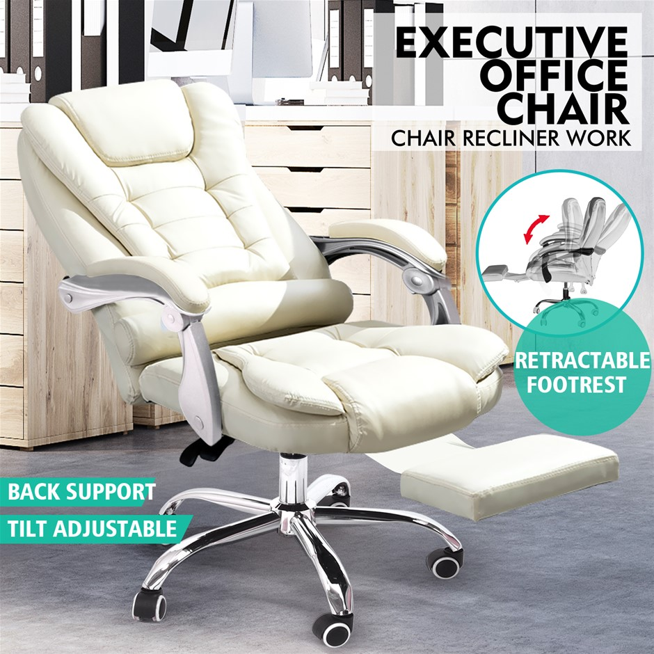 Executive Office Computer Chair Premium PU Leather Thick Padded Lumbar