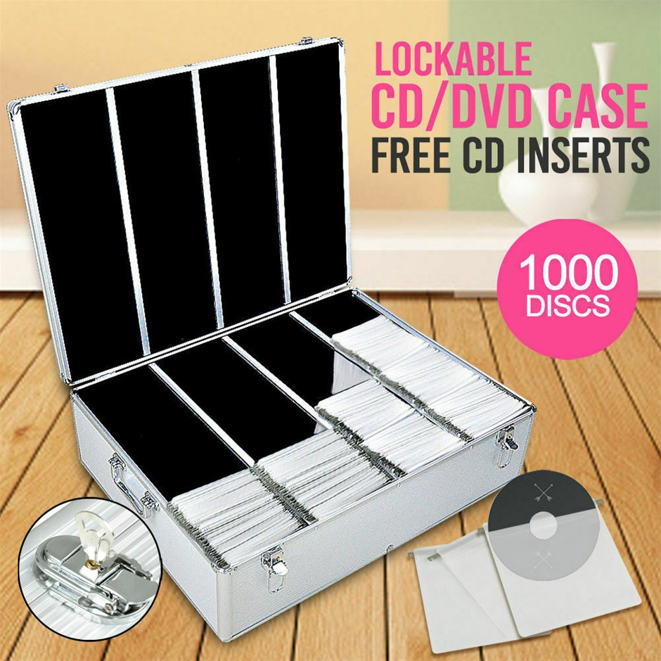1000 Discs Aluminium CD DVD Cases Bluray Lock Box Organizer Free Inserts