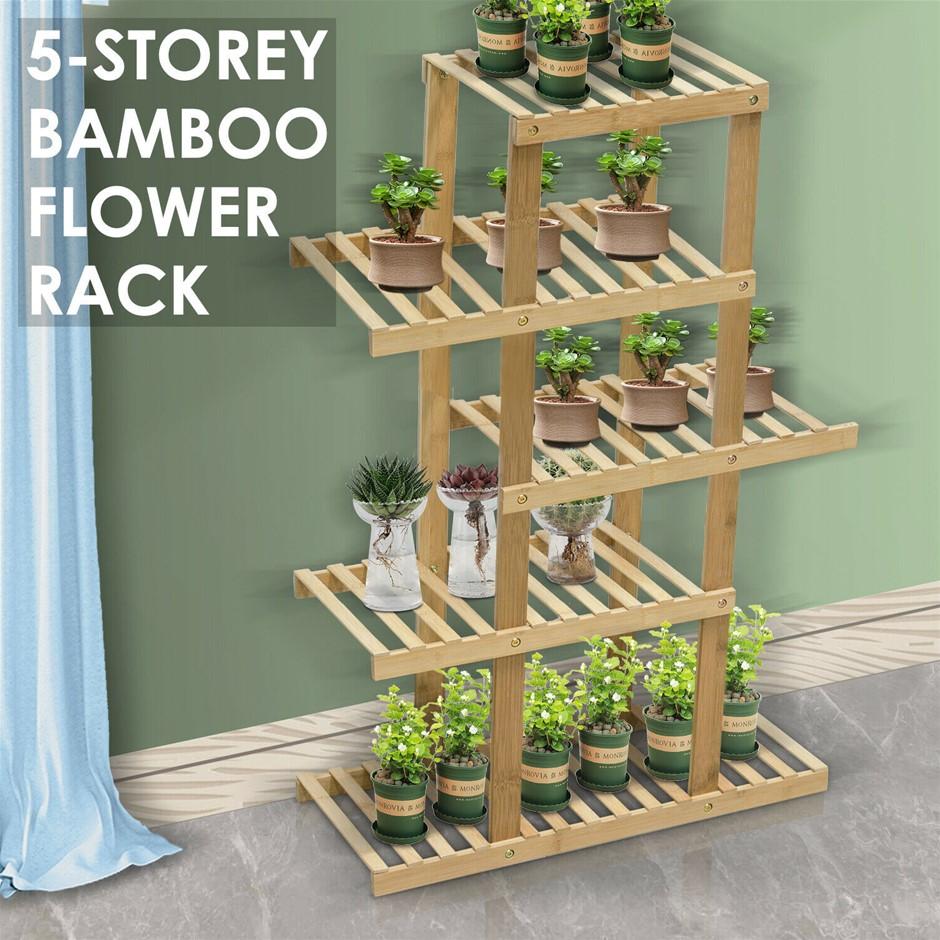 5 Tiers Premium Bamboo Wooden Plant Stand In/outdoor Garden Planter