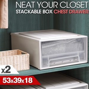 2x Plastic Wide Drawer Shoes Boxes Stack