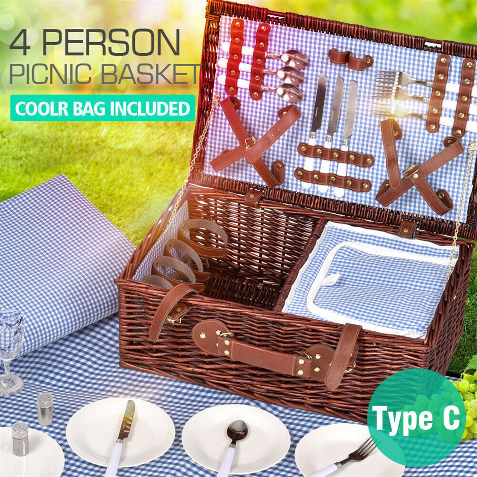 Picnic Basket 4 Person Baskets Set Insulated Wicker Outdoor Blanket Storage