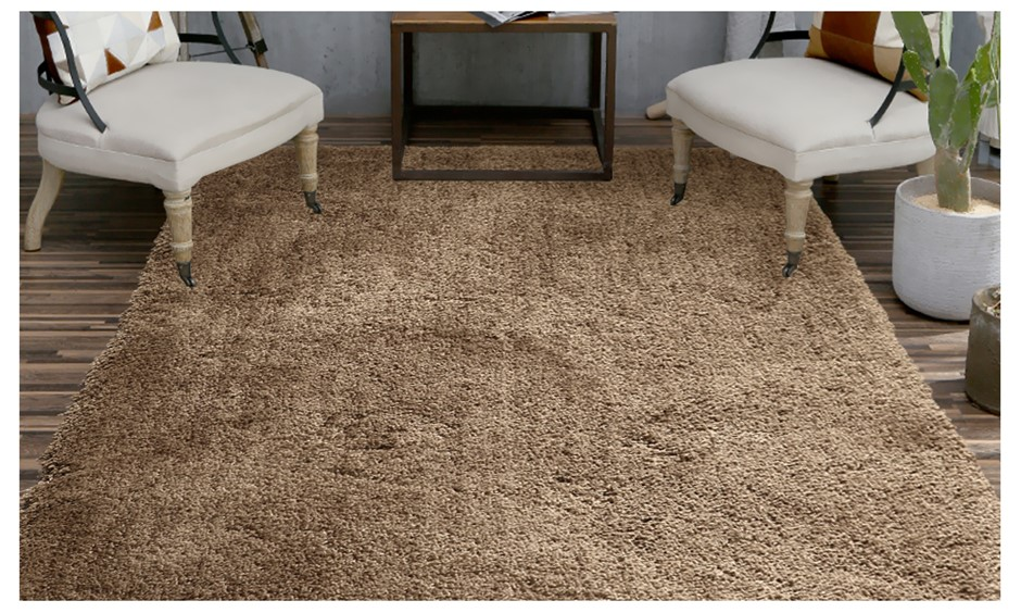 Ultra Soft Anti Slip Rectangle Plush Shaggy Floor Rug 120x170cm Taupe